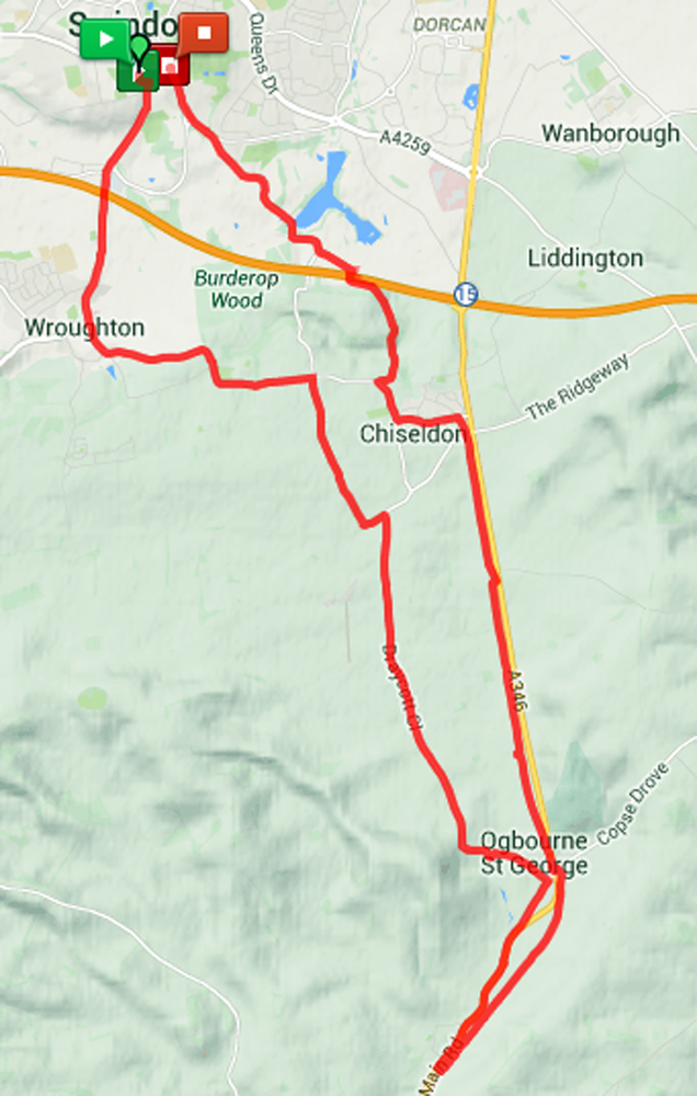 19.53 miles loop to Ogbourne St David (including the Brimble Hill ascent)